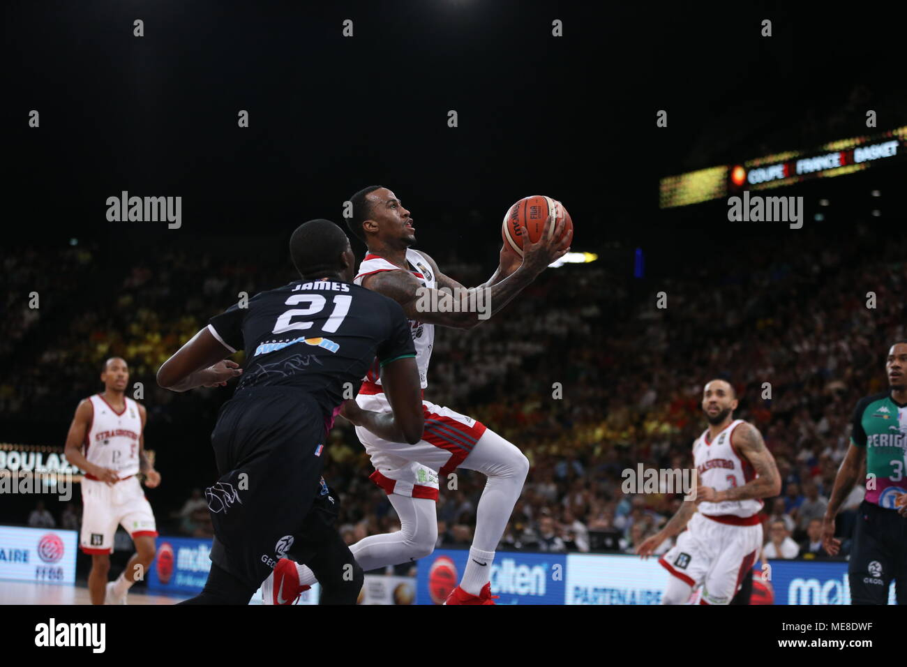 Dee Bost (M) in action during the 'French Cup' match between SIG Strasbourg and Boulazac Basket Dordogne. Final Score (SIG Strasbourg 82 - 62 Boulazac Basket Dordogne) - Stock Image