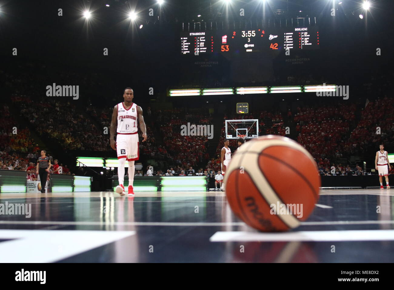 Dee Bost seen during the 'French Cup' match between SIG Strasbourg and Boulazac Basket Dordogne. Final Score (SIG Strasbourg 82 - 62 Boulazac Basket Dordogne) - Stock Image