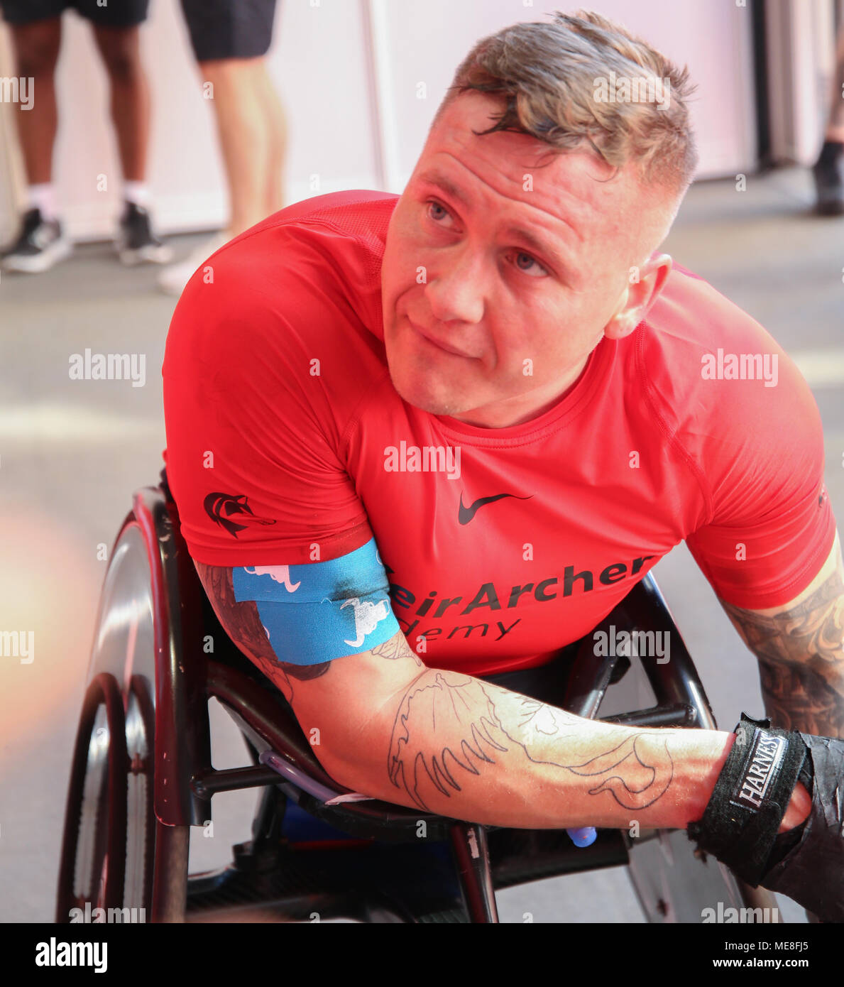 London UK 22 April 2018 David Weir winner of this year Virgin Money London Marathon wheelchair race talking to the press after the race @Paul Quezada-Neiman/Alamy Live News Stock Photo