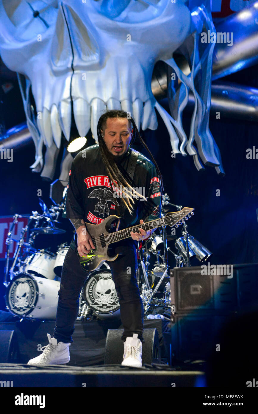 Las Vegas Nevada April  Finger Punch Band Member Zoltan Bathory On Stage On Day 2 Of The Second Annual Las Rageous Heavy Metal Music