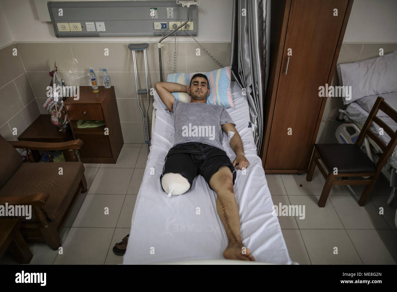 Palestinian cyclist Alaa Al-Daly, 21, who lost his leg by a