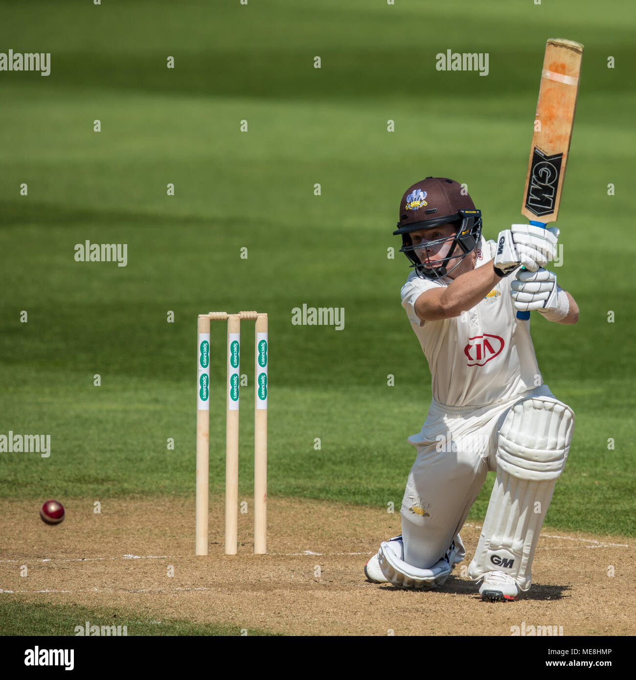 London,UK. 22 April 2018. Ollie Pope batting for Surrey against Hampshire on day  three of the Specsavers County Championship game at the Oval. David Rowe/Alamy Live News Stock Photo