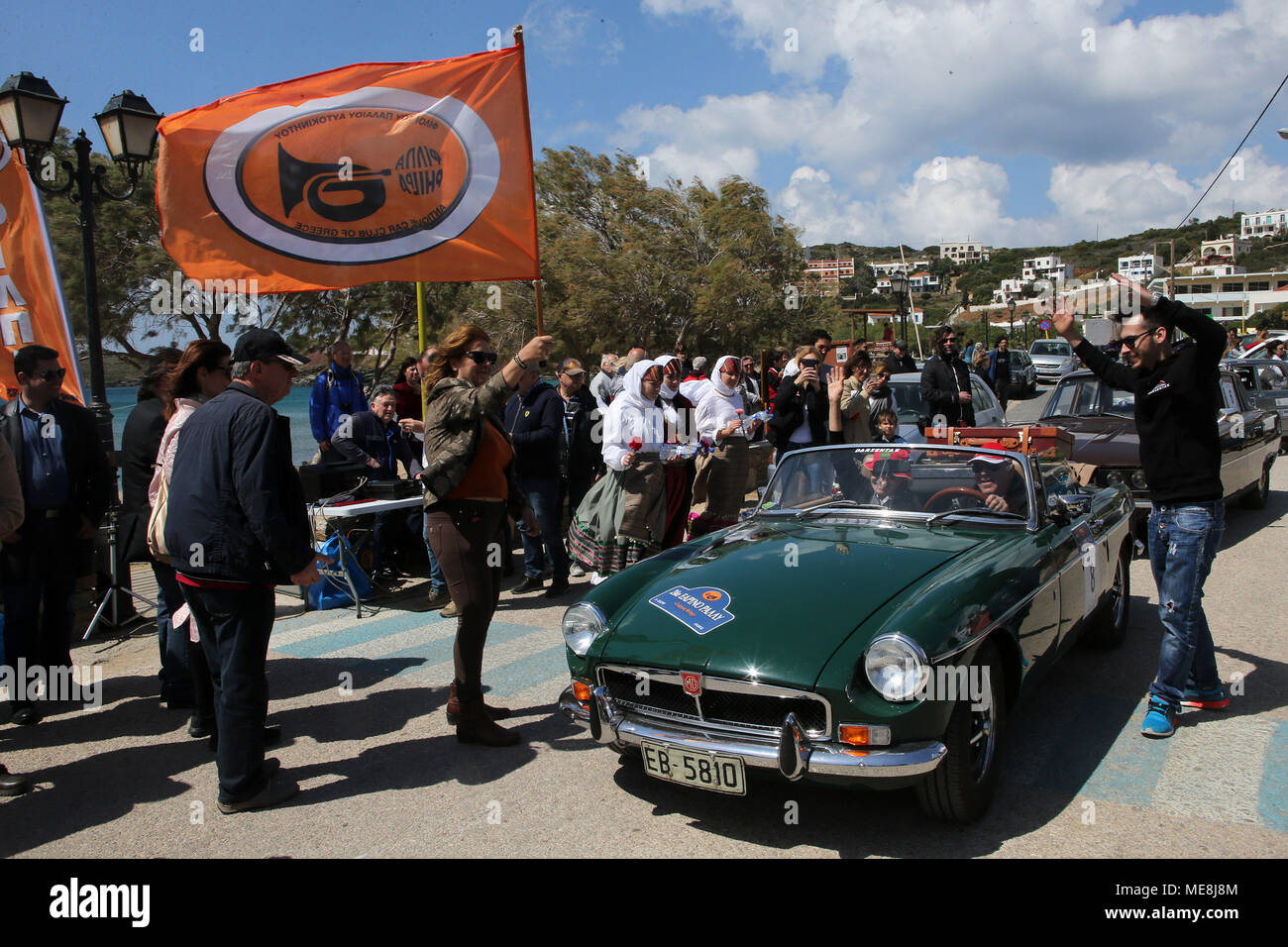 andros, greece. 21st apr, 2018. vintage cars take part in the 24th