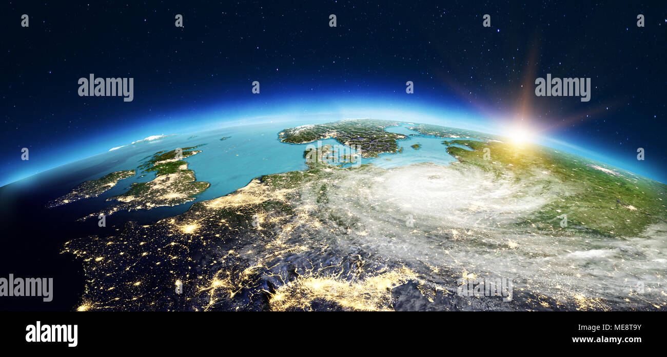 Europe from space. 3d rendering - Stock Image