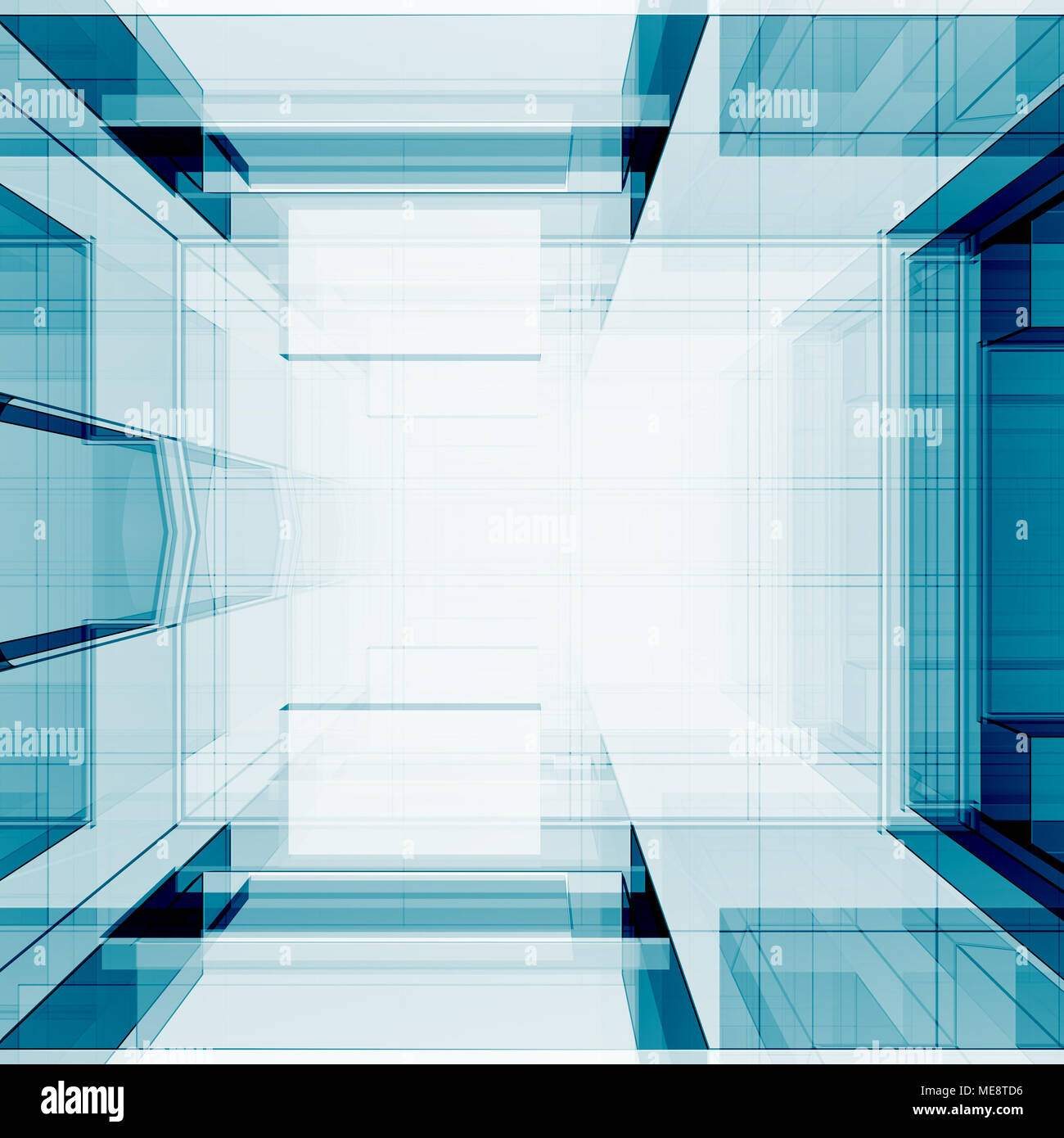 Blue transparent 3d rendering Stock Photo