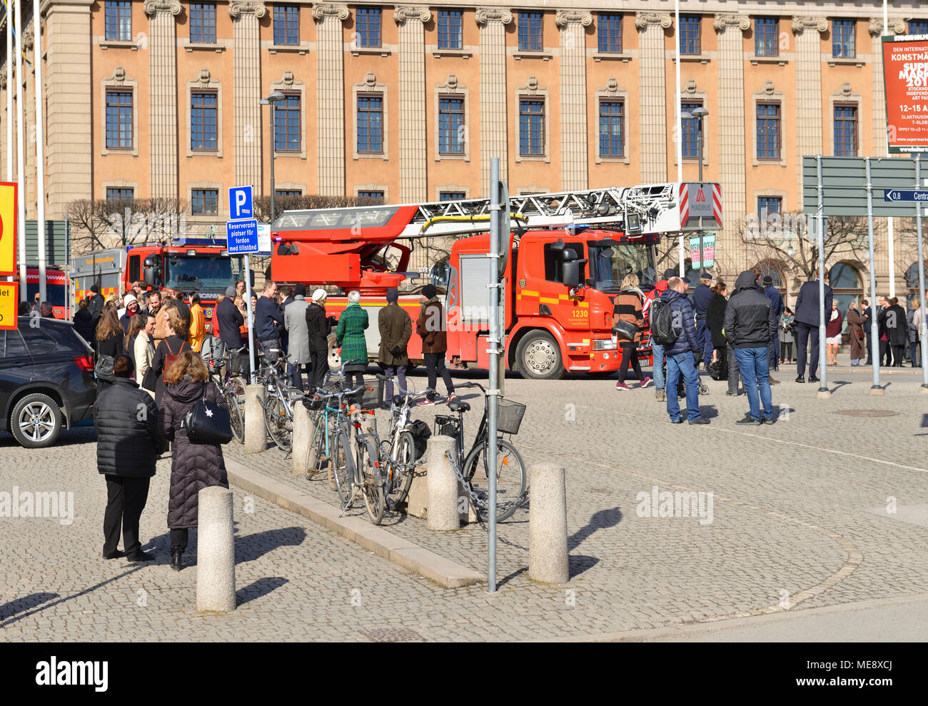 Fire trucks, police and rescue vehicles on Gustav Adolfs torg (square). People evacuated from Ministry of Foreign  Affairs - Stock Image