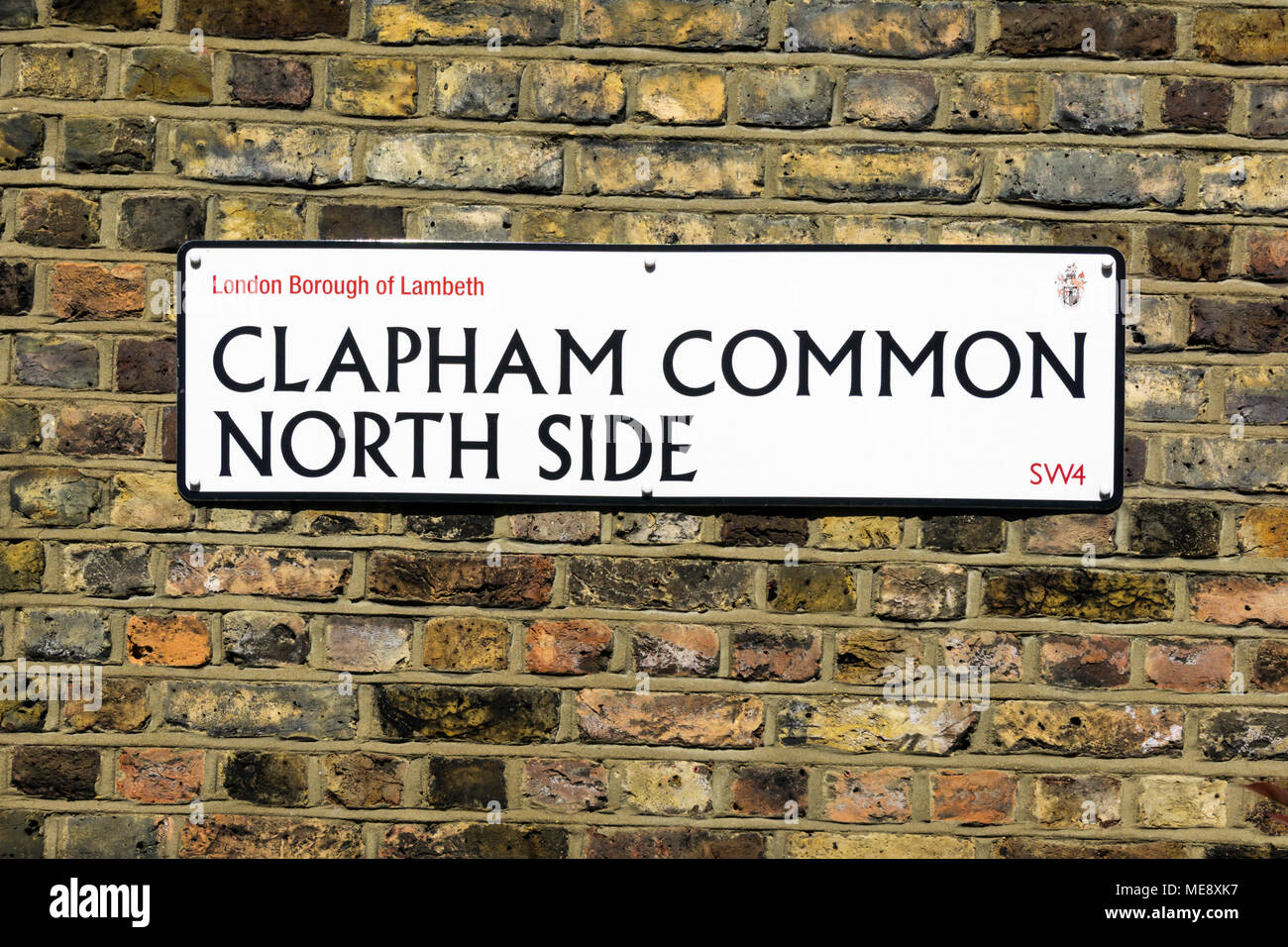 Street sign for Clapham Common North Side in the London Borough of Lambeth - Stock Image