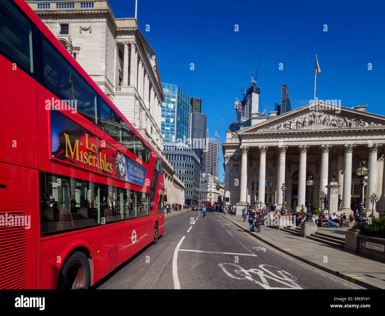 Bank of England London and Royal Exchange buildings in the City of London Square Mile Financial District - Stock Image