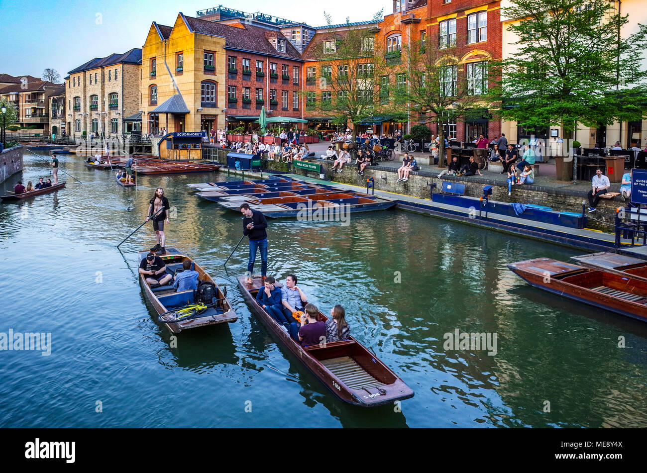 Cambridge Tourism - tourists punt along the River Cam next to the Quayside in Cambridge UK. - Stock Image