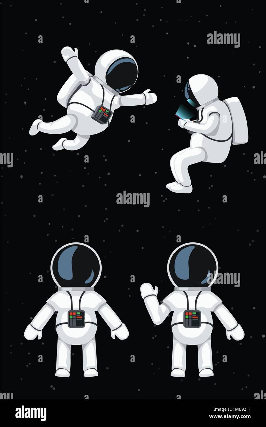 cartoon astronaut set - Stock Image