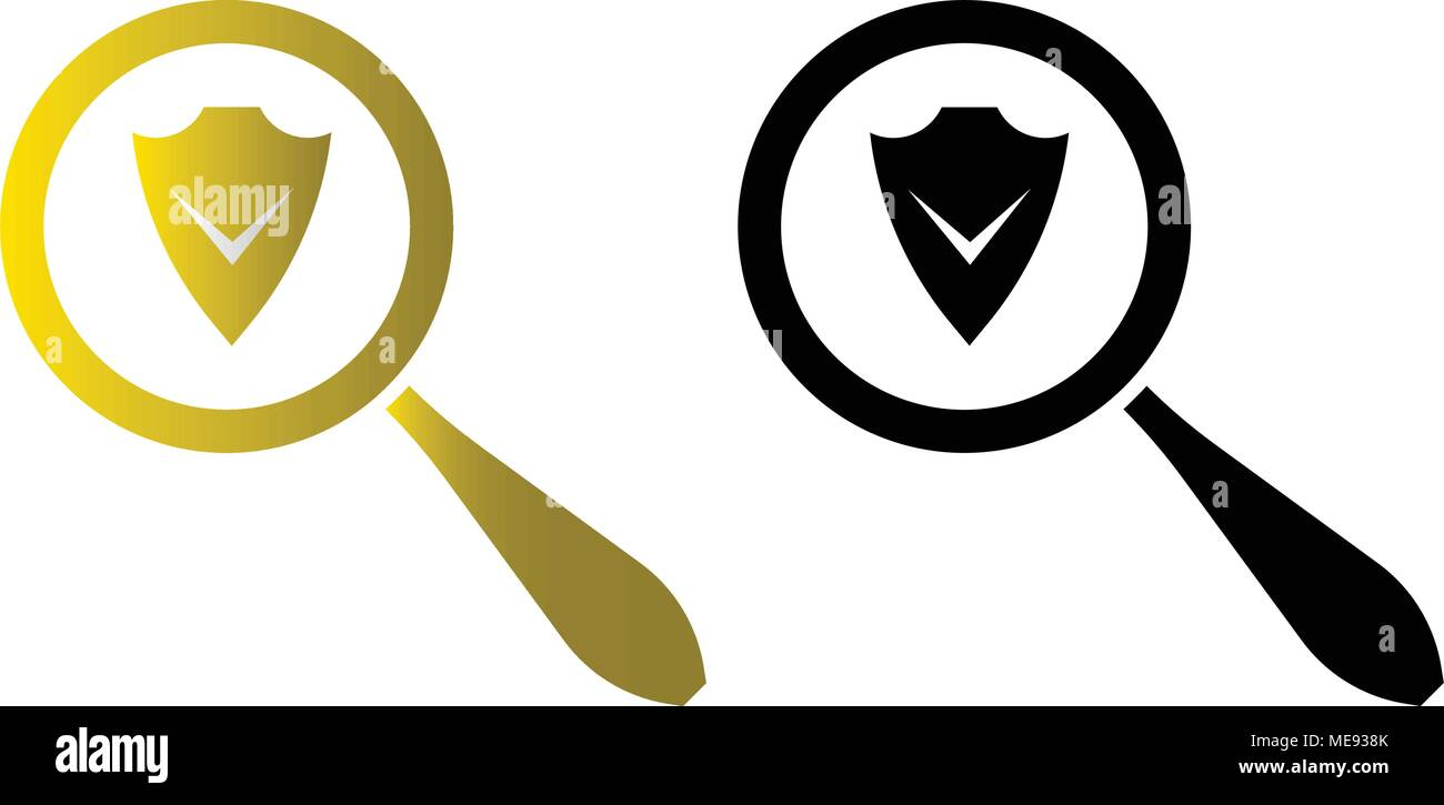 Antivirus program search icon, vector illustraton, flat icon - Stock Image