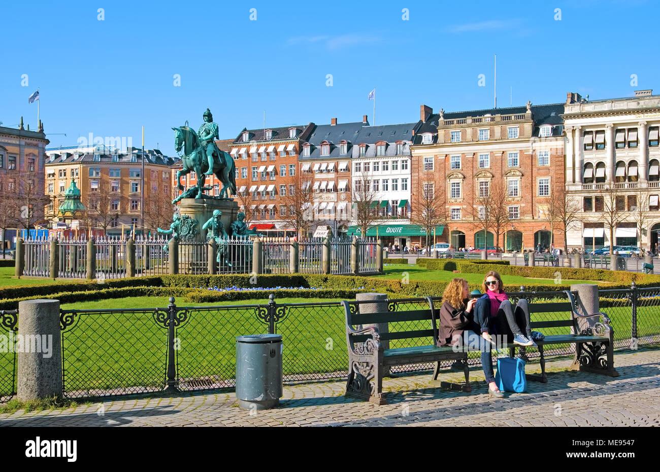 COPENHAGEN, DENMARK - APRIL 13, 2010: Equestrian statue of Christian V on Kongens Nytorv Square (The King's New Square) - Stock Image