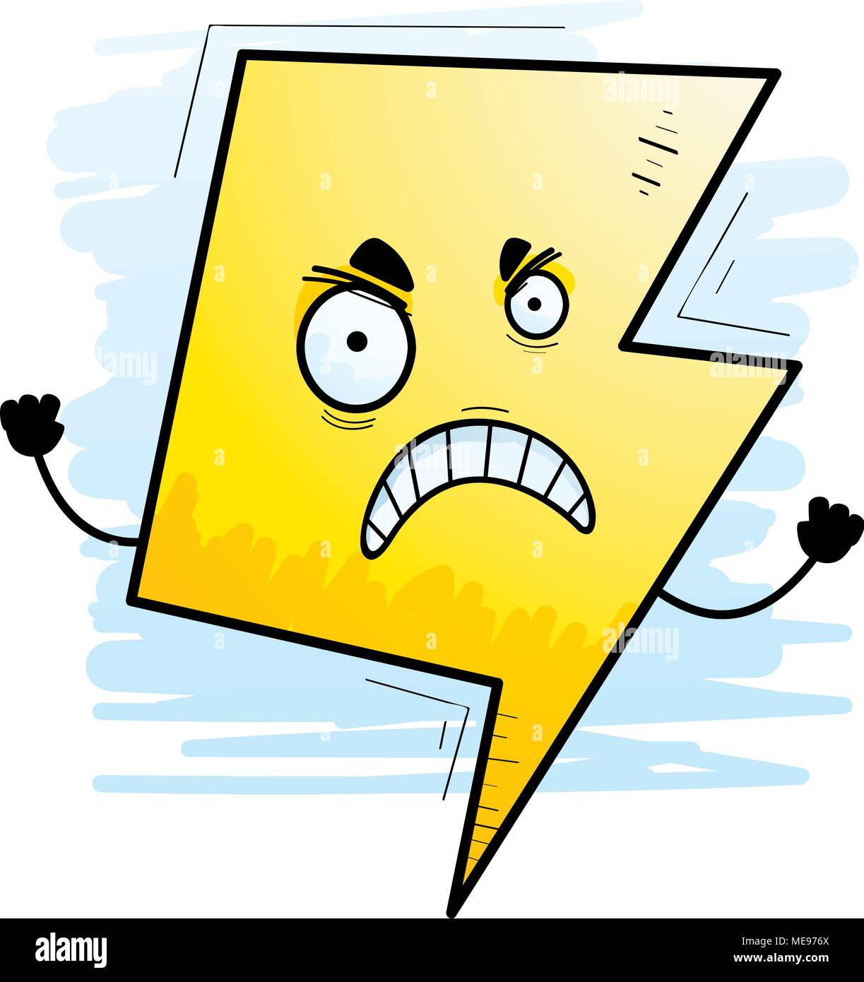 a cartoon illustration of a lightning bolt looking angry stock
