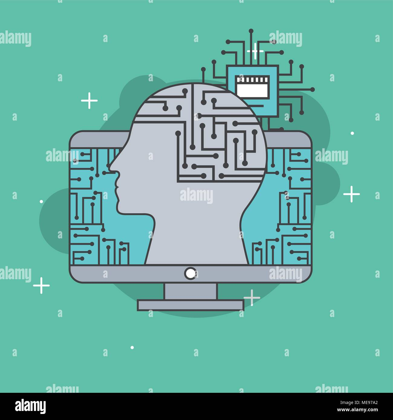 Computer Circuit Board Human Face Stock Photos & Computer Circuit ...