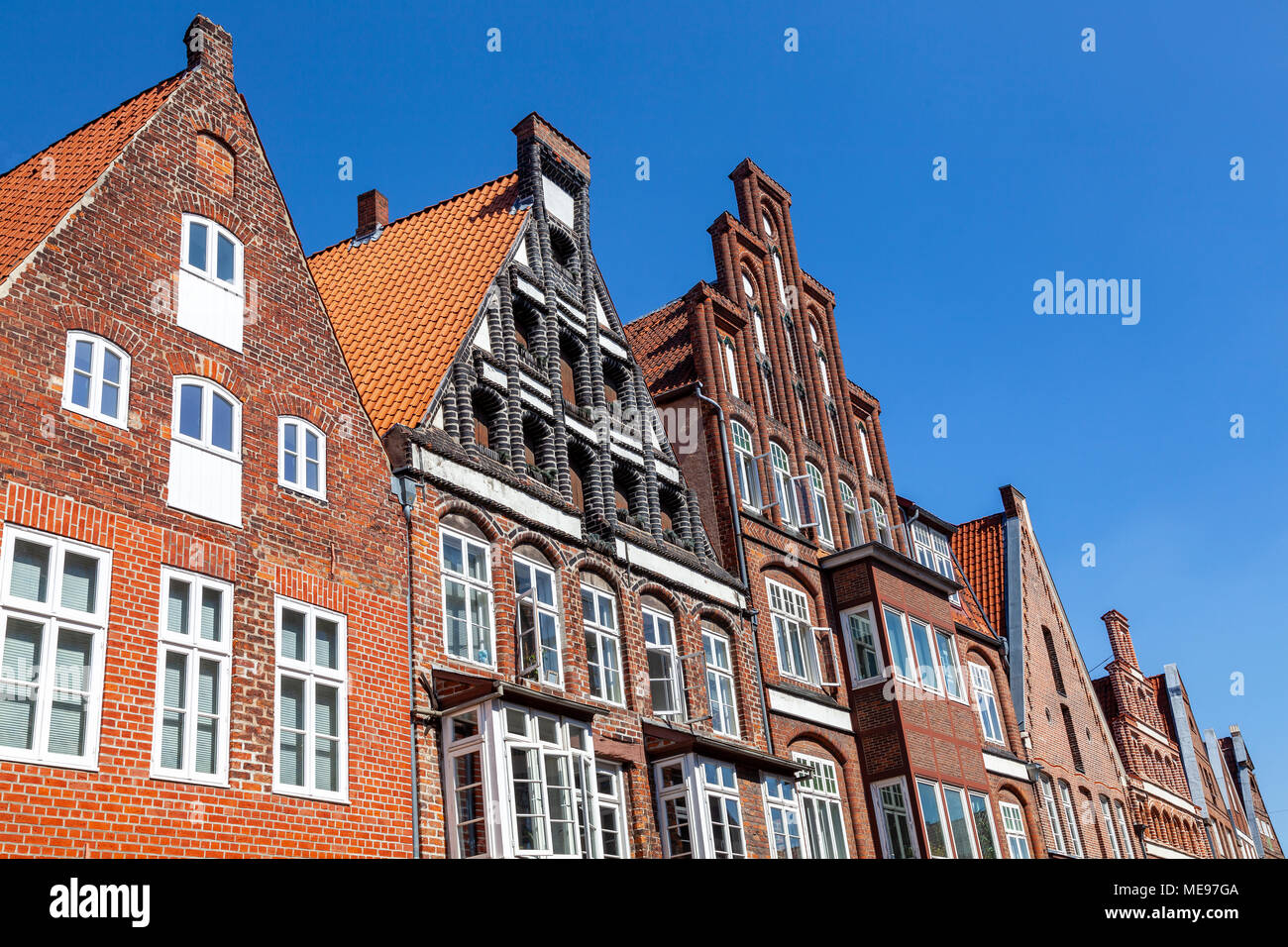 Traditionelle Giebel in Lüneburg, Niedersachsen, Deutschland Stock Photo