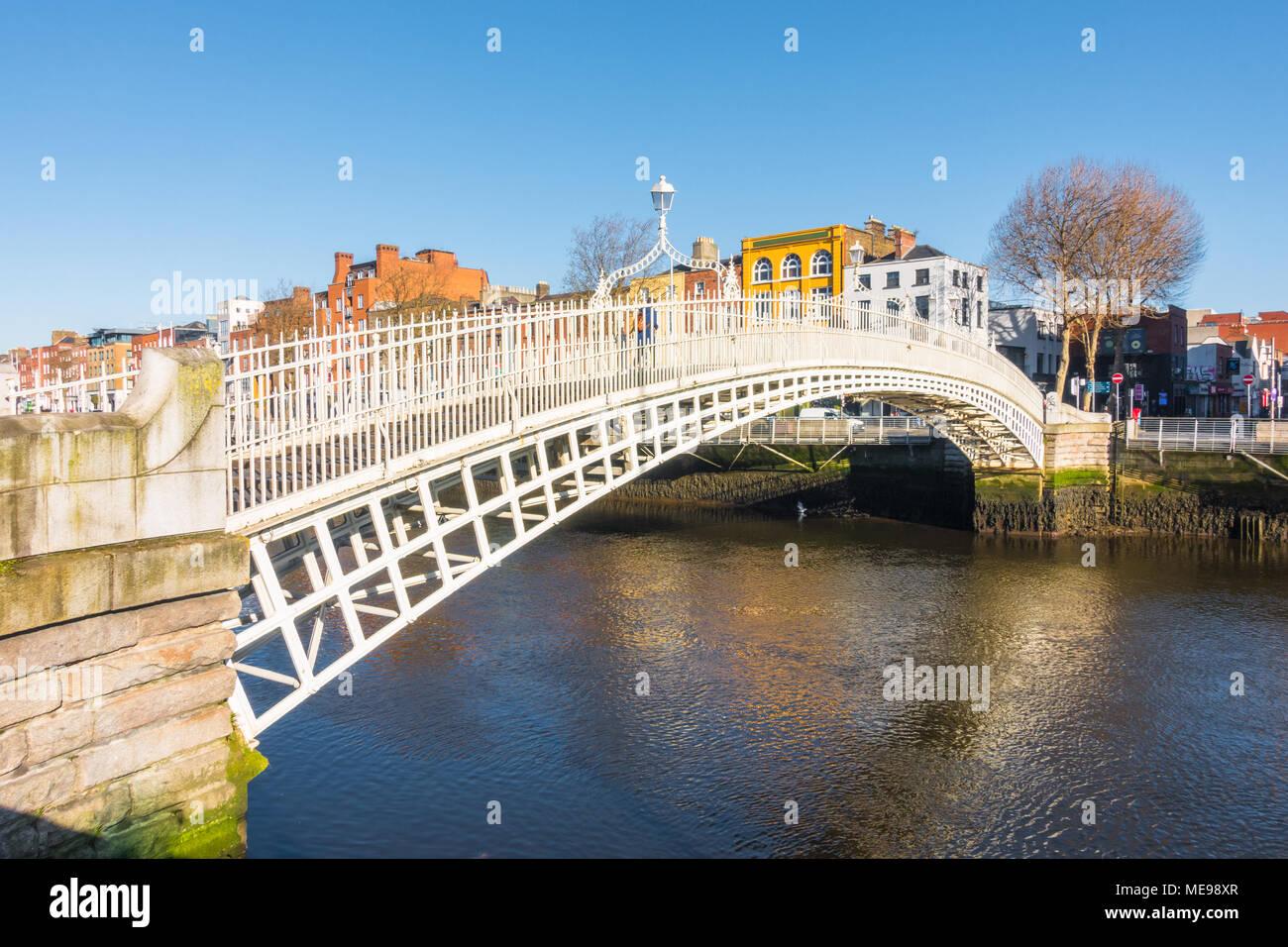 Ha'penny Bridge in Dublin Stock Photo
