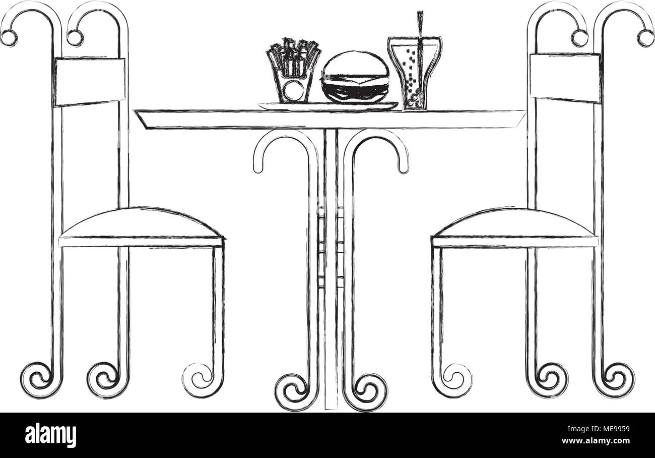 Vintage Restaurant Table Fast Food And Chairs Stock Vector Image Art Alamy
