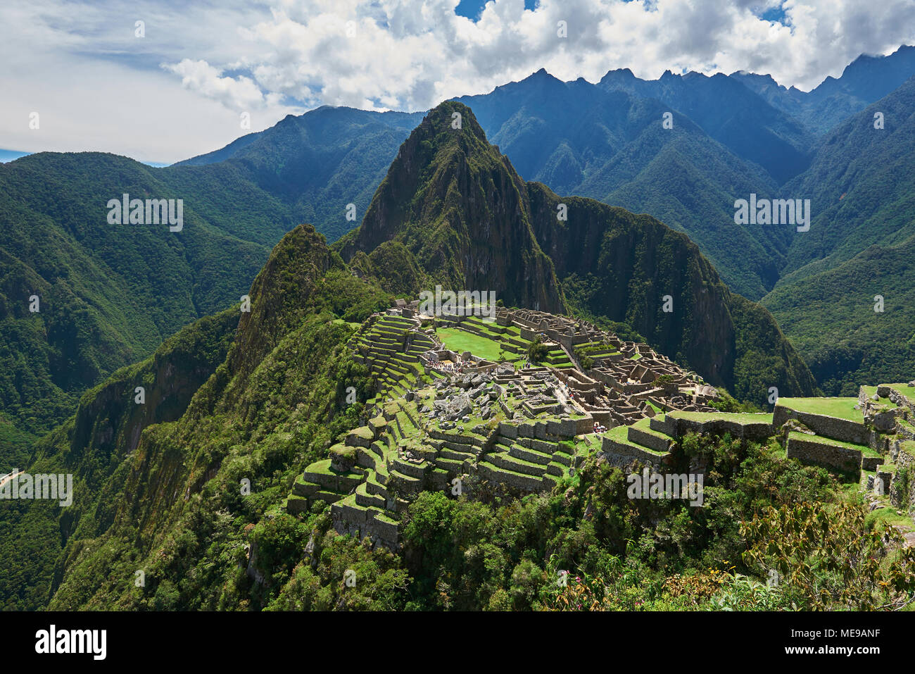 Drone view on ancient city Machu Picchu. Panorama view of Machu Picchu - Stock Image
