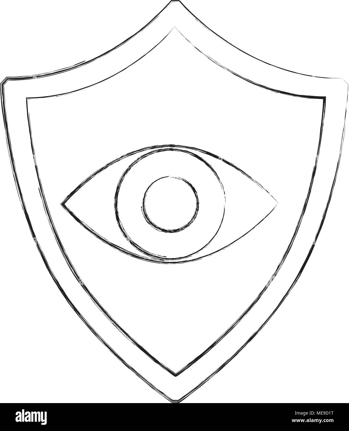 cyber security shield protection eye surveillance - Stock Image