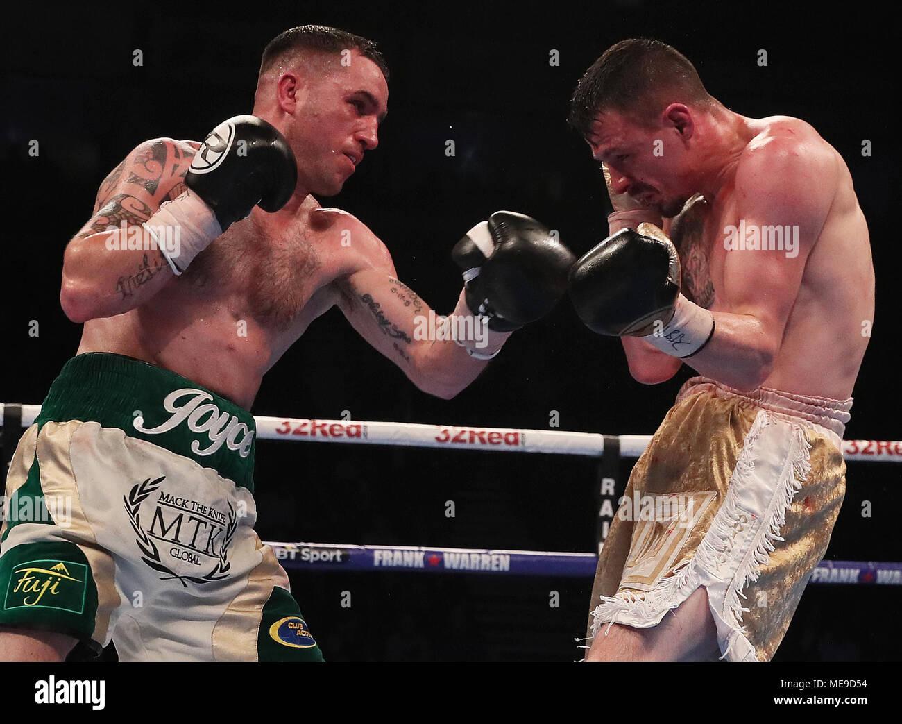 David Oliver Joyce (left) against Jordan Ellison during their International Lightweight bout at the SSE Arena, Belfast. Stock Photo
