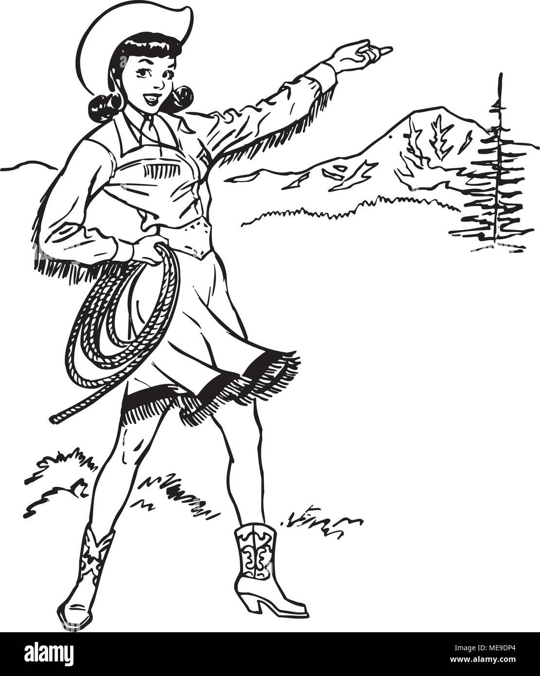 Cute Cowgirl - Retro Clipart Illustration Stock Vector Art ...