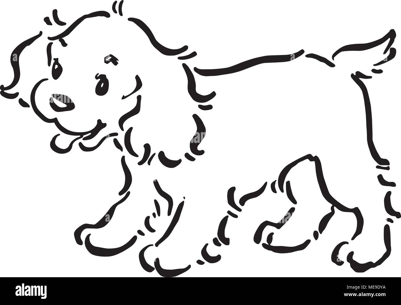 Cute Puppy Dog Retro Clipart Illustration Stock Vector Image Art Alamy