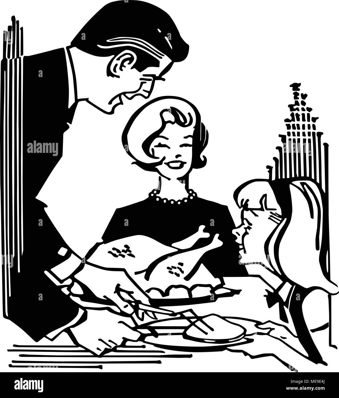 Dad Serving Turkey - Retro Clipart Illustration - Stock Image