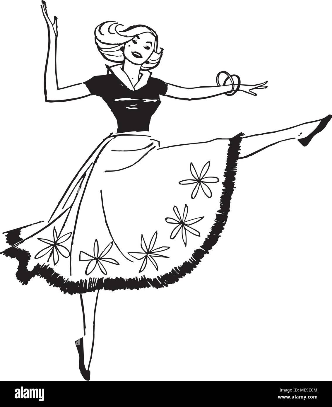 Dancing Woman - Retro Clipart Illustration - Stock Vector