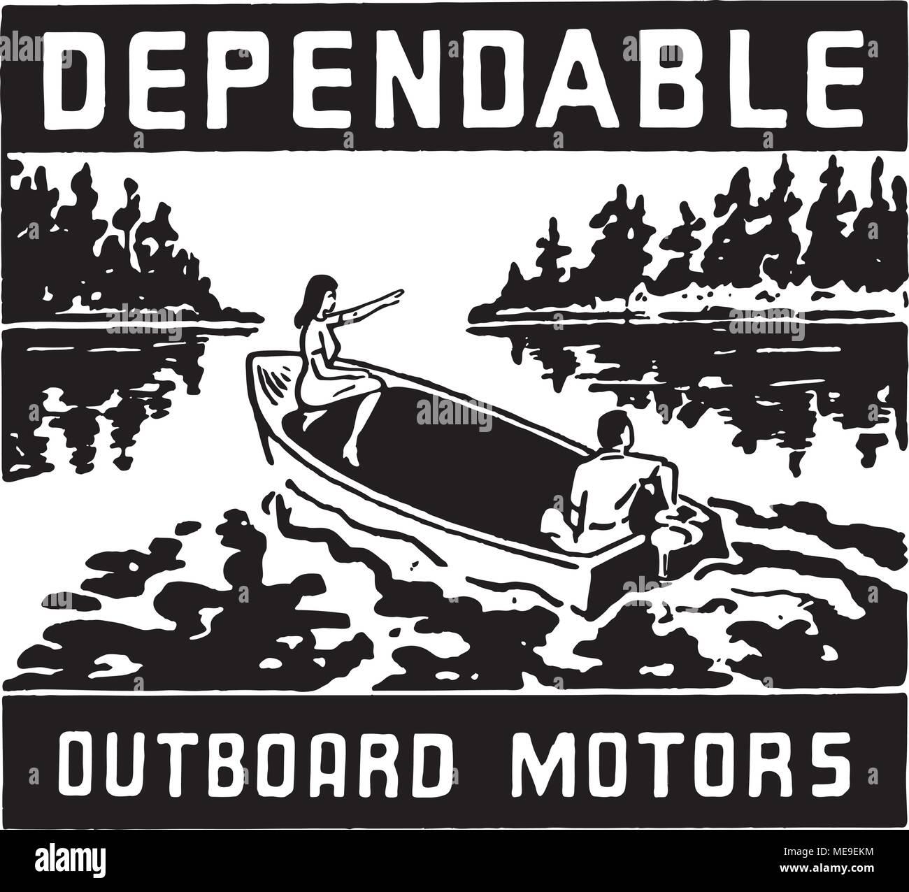 Dependable Outboard Motors - Retro Ad Art Banner - Stock Vector