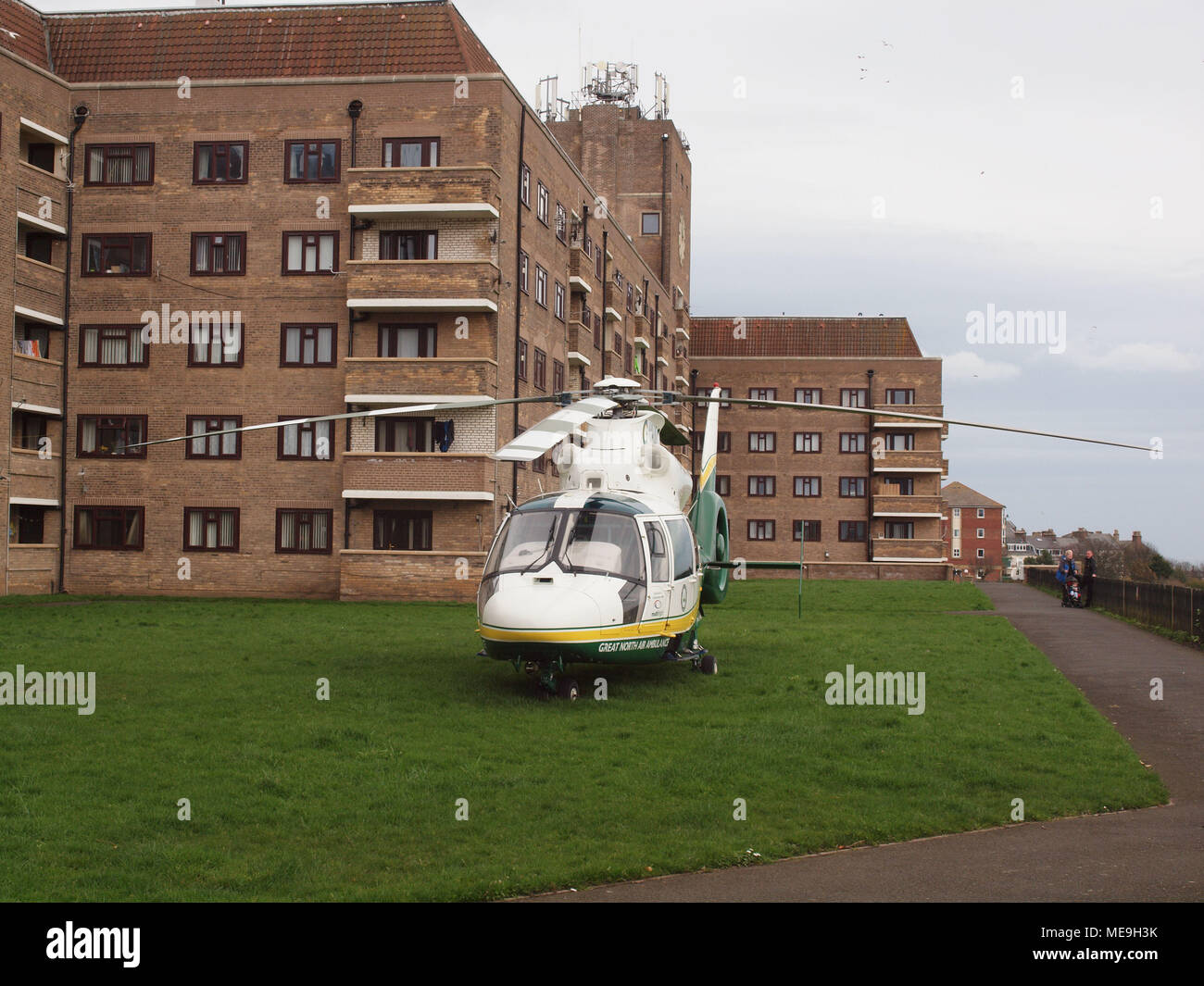 A ground floor flat fire at 'Knotts Flats in Tynemouth on the banks of the river Tyne in North Tyneside, near Newcastle. - Stock Image