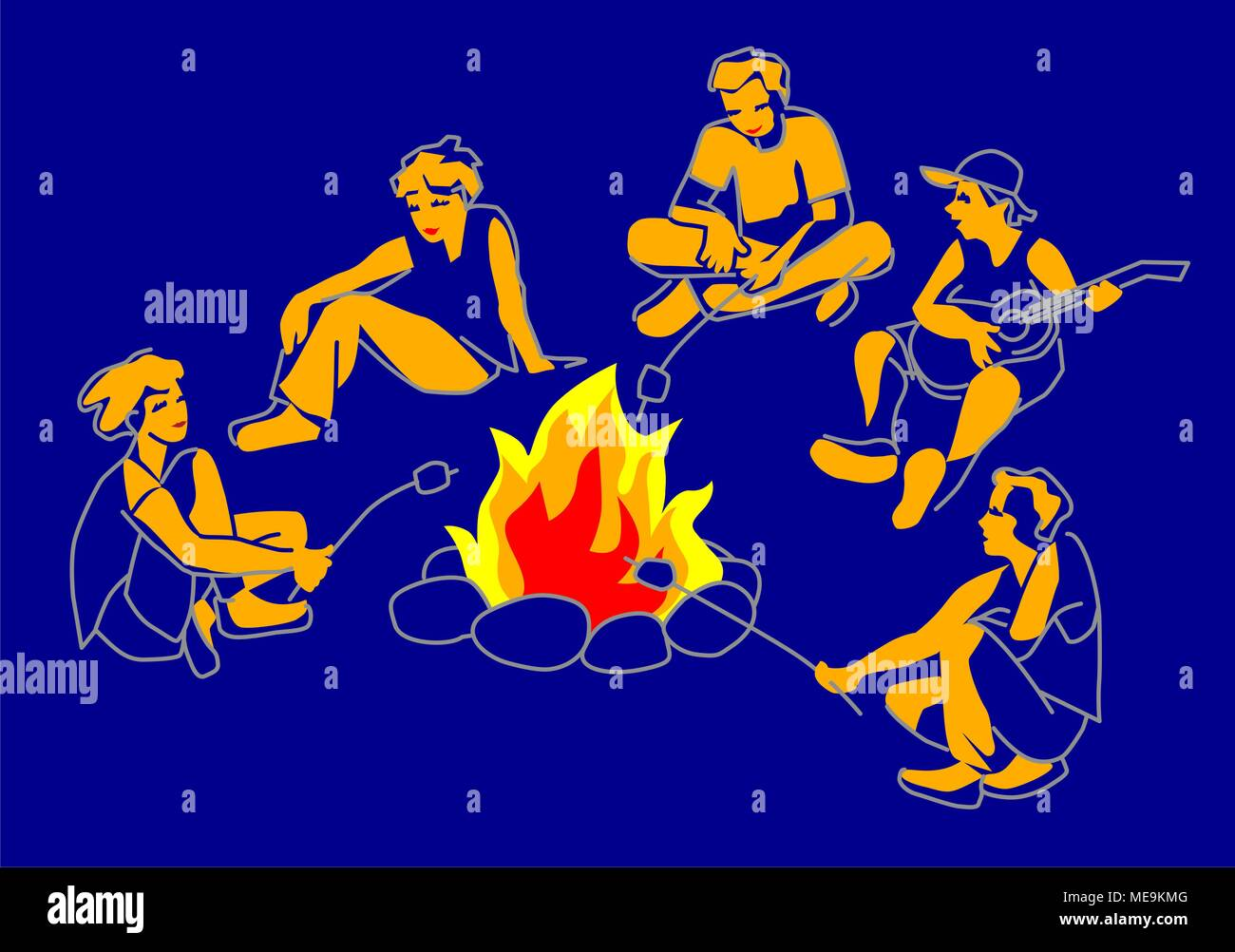 Friends, boys and girls sitting on bonfire, playing guitar and frying marshmallow, cartoon vector illustration. - Stock Vector