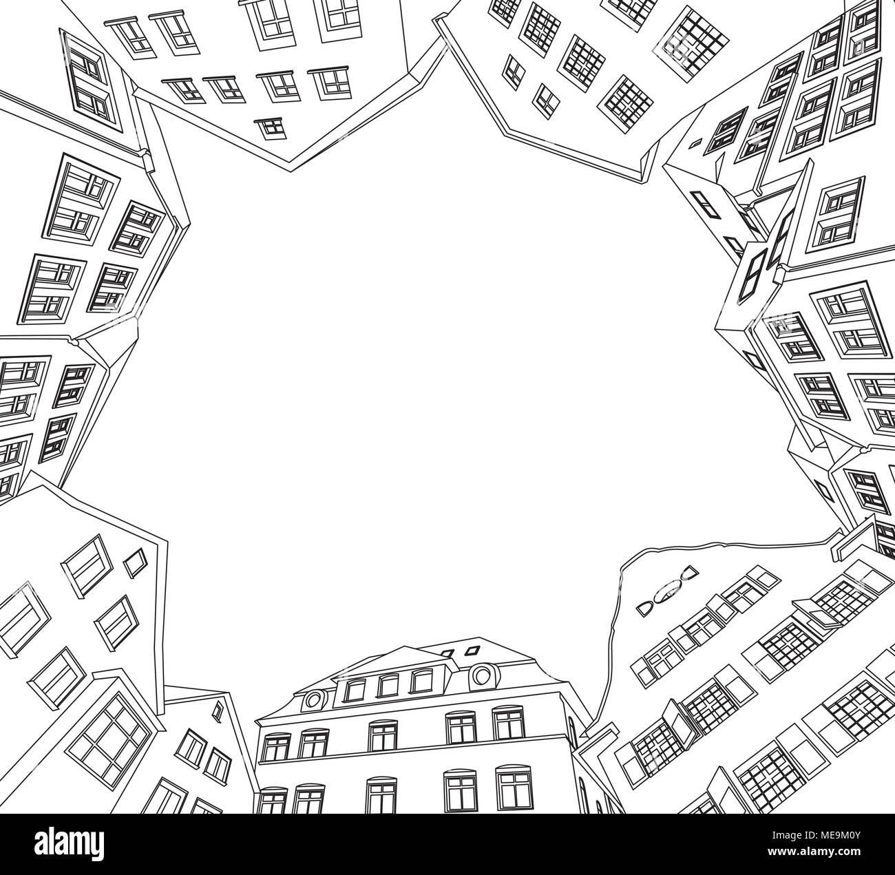 Vector illustration of european old city. - Stock Vector