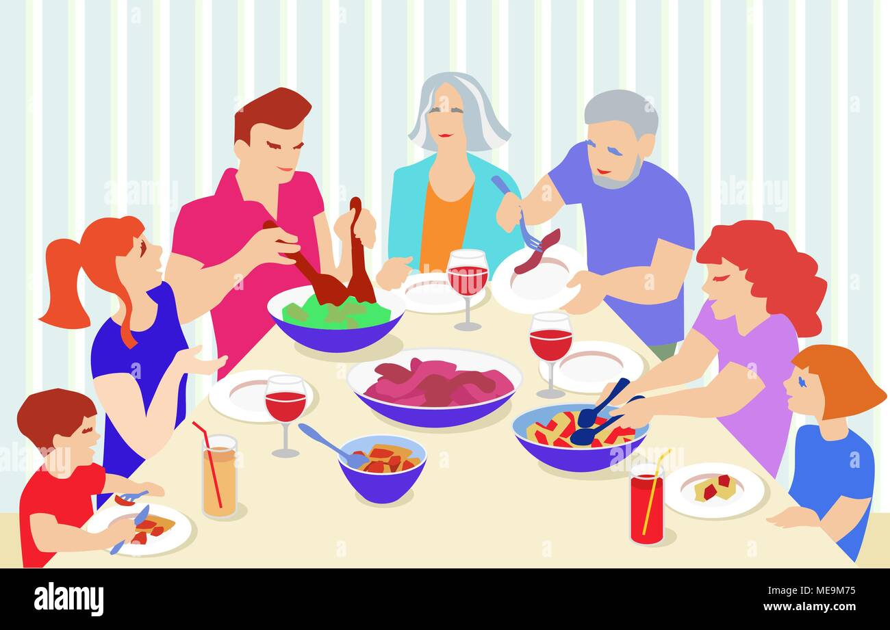 Vector Illustration from big family celebrating. Grandparents, parents and children at table eating and speaking. - Stock Vector