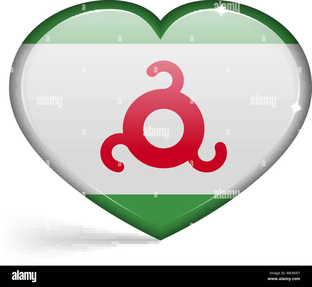 Flags of Ingushetia in a heart shape with highlights on the edges. Vector illustration - Stock Vector
