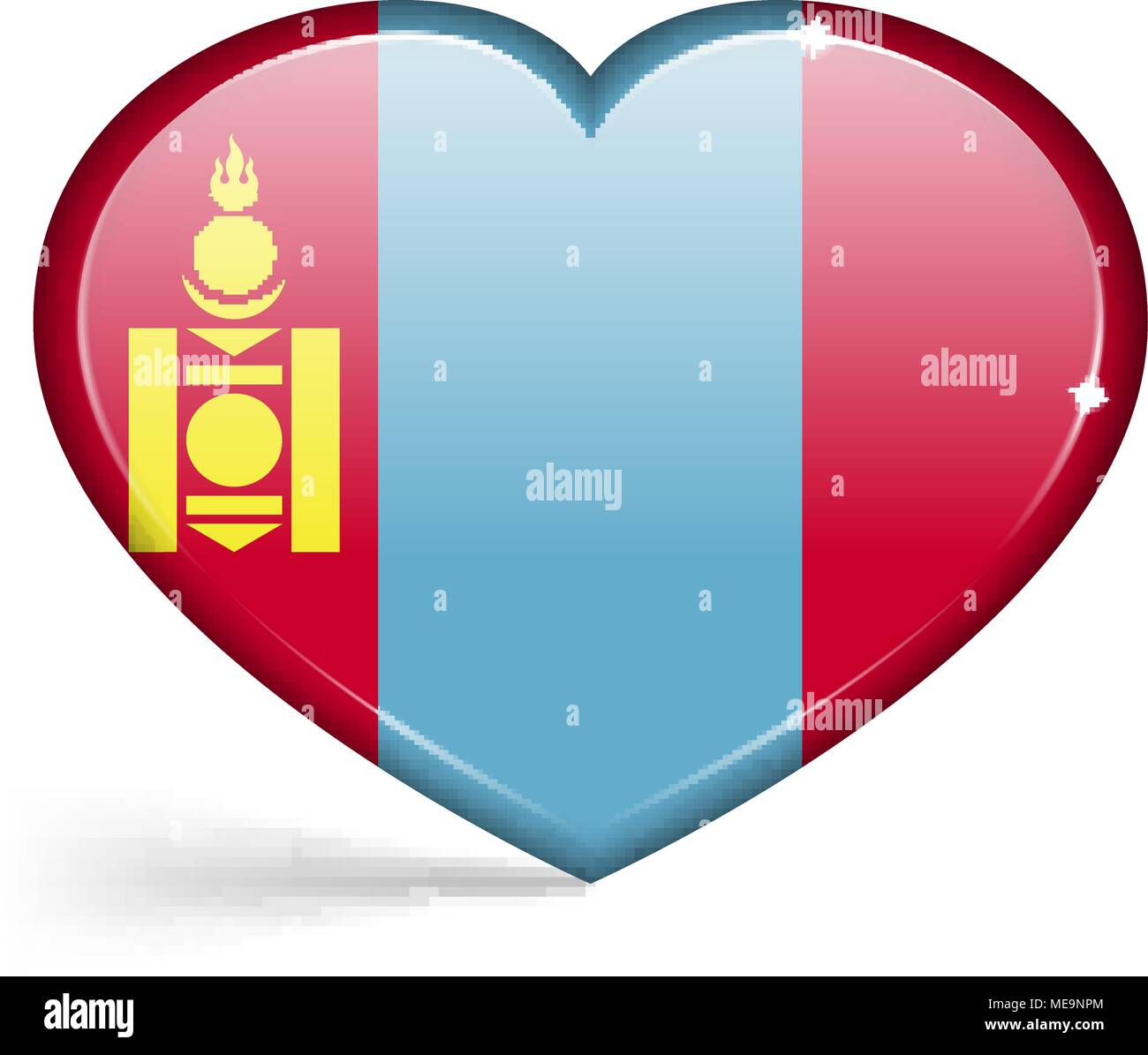 Flags of Mongolia in a heart shape with highlights on the edges. Vector illustration - Stock Vector