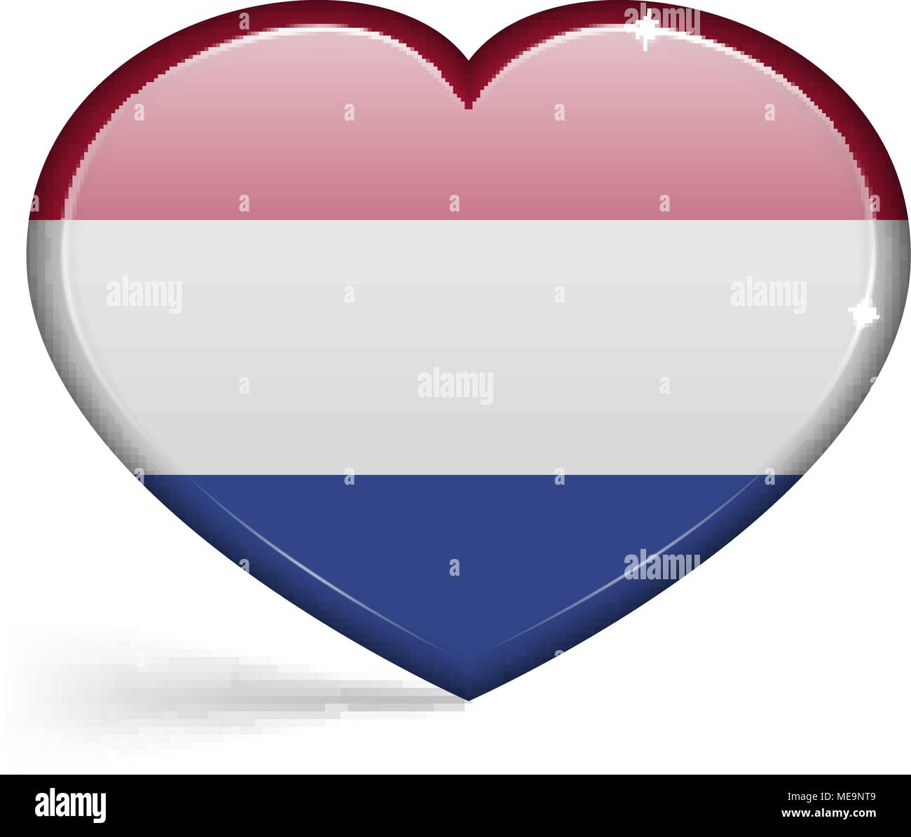 Flags of Netherlands in a heart shape with highlights on the edges. Vector illustration - Stock Vector
