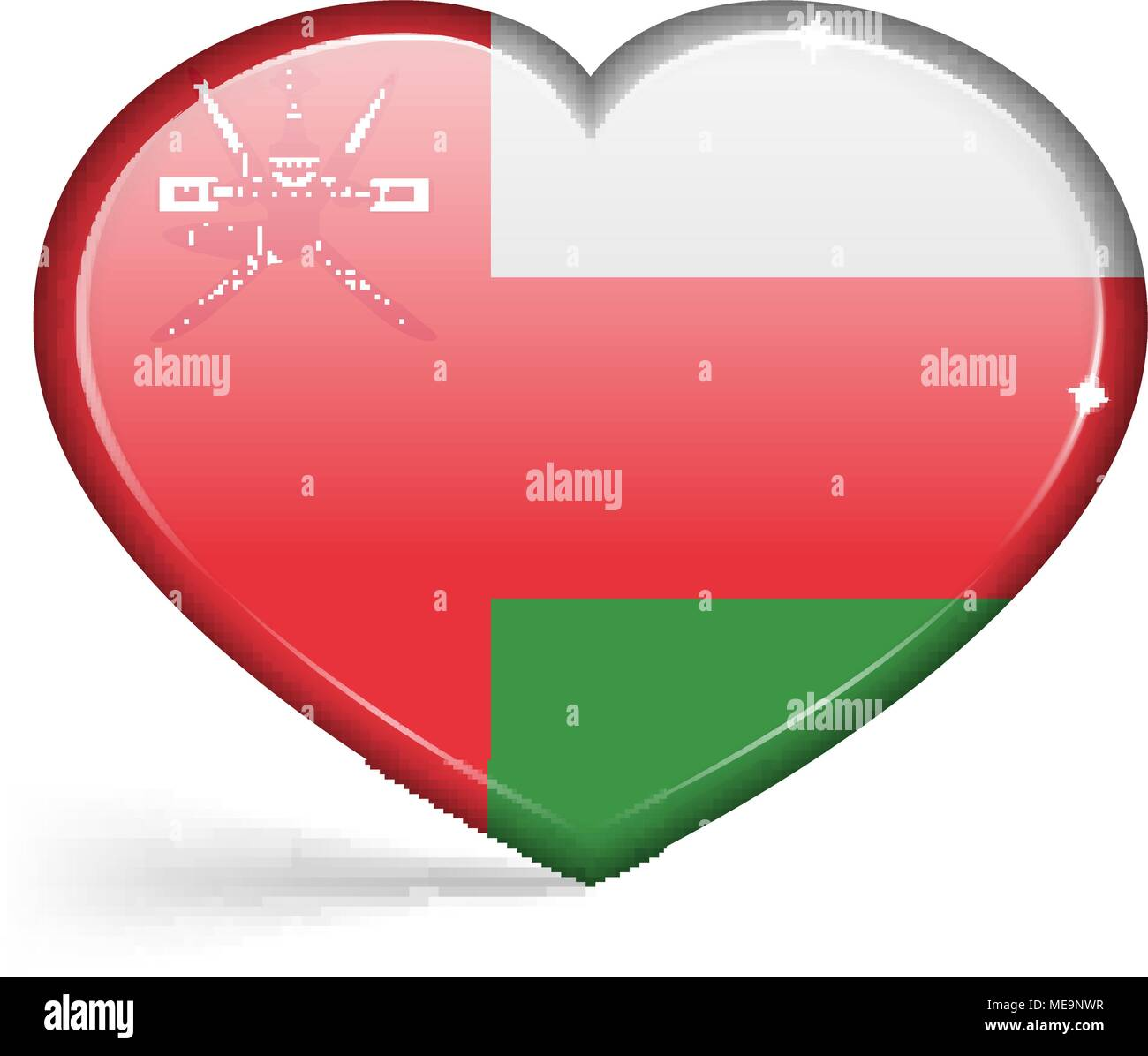 Flags of Oman in a heart shape with highlights on the edges. Vector illustration - Stock Image