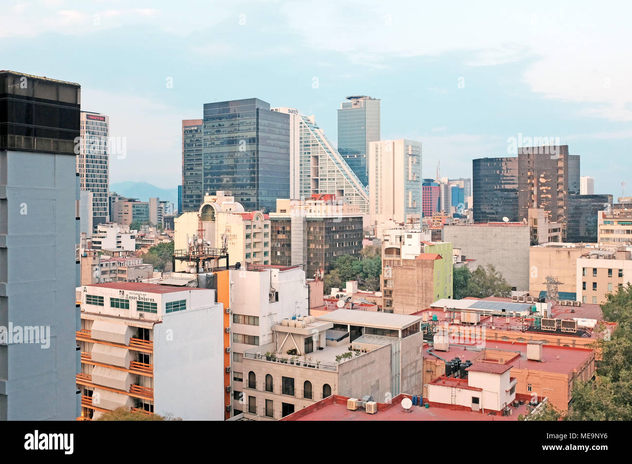 Zona Rosa in the foreground with the financial district in the distance in Mexico City, Mexico in 2018. - Stock Image