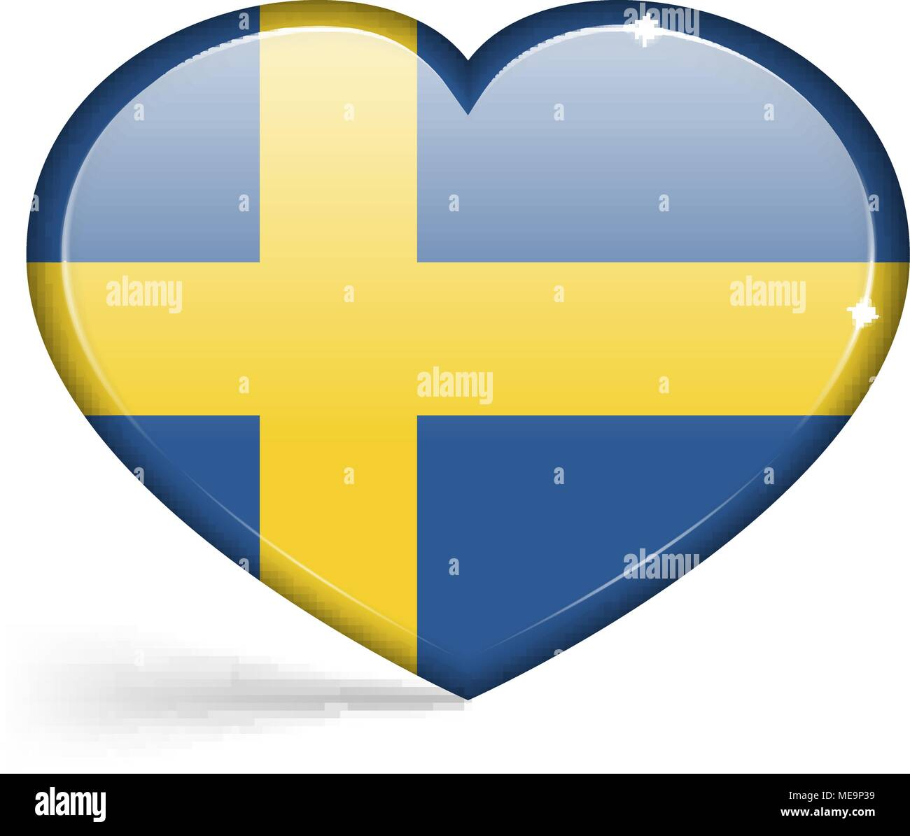 Flags of Sweden in a heart shape with highlights on the edges. Vector illustration - Stock Image