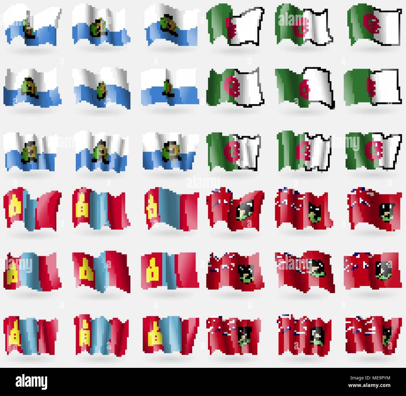 San Marino, Algeria, Mongolia, Bermuda. Set of 36 flags of the countries of the world. Vector illustration - Stock Vector