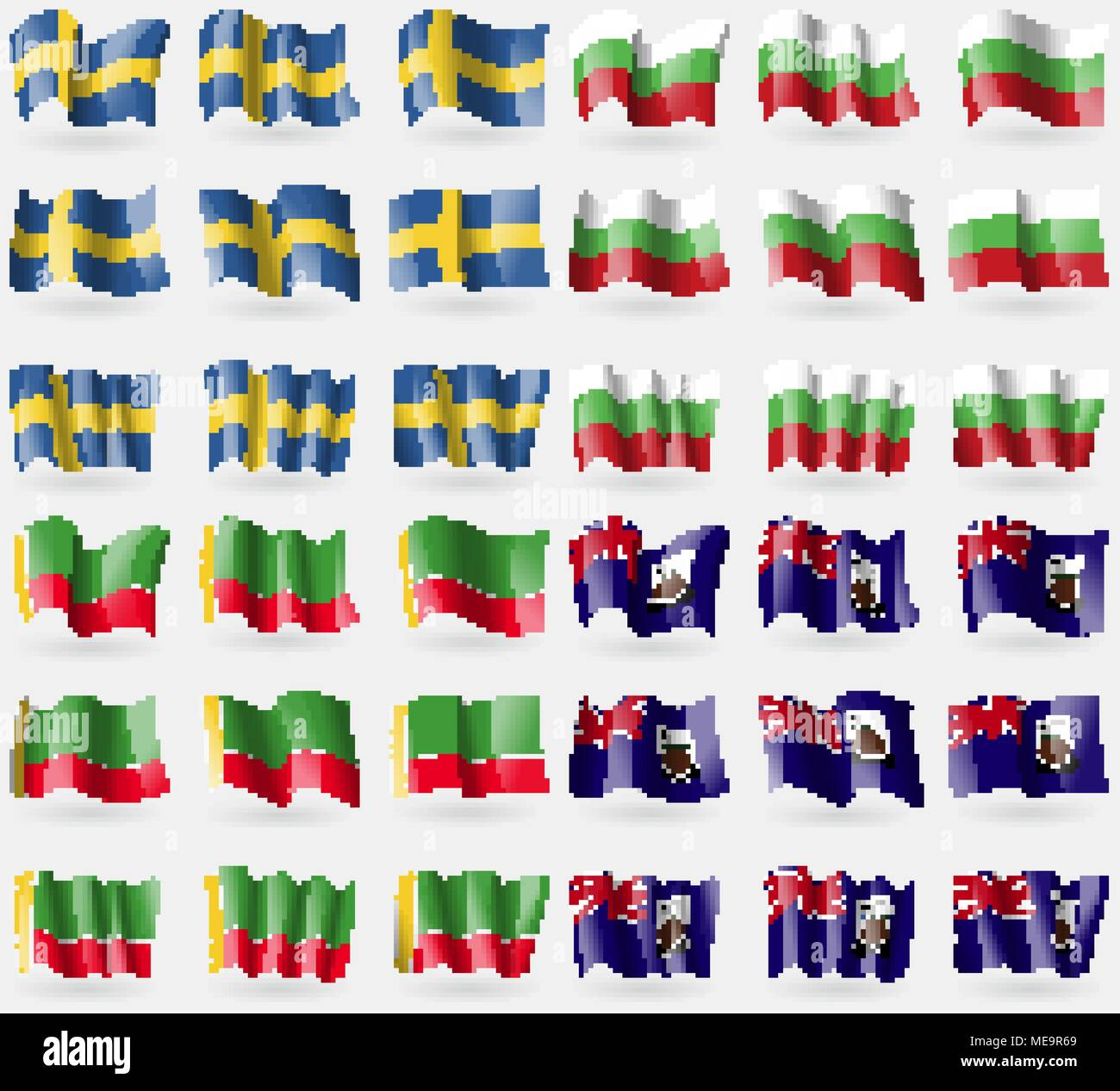 Sweden, Bulgaria, Chechen Republic, Falkland Islands. Set of 36 flags of the countries of the world. Vector illustration - Stock Image