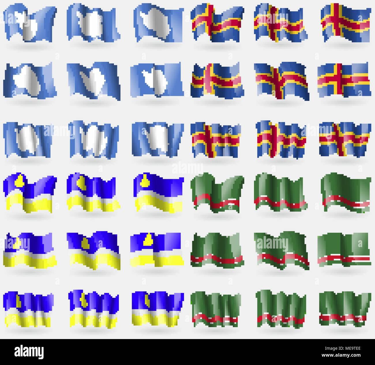 Antarctica, Aland, Buryatia, Chechen Republic of Ichkeria. Set of 36 flags of the countries of the world. Vector illustration - Stock Image