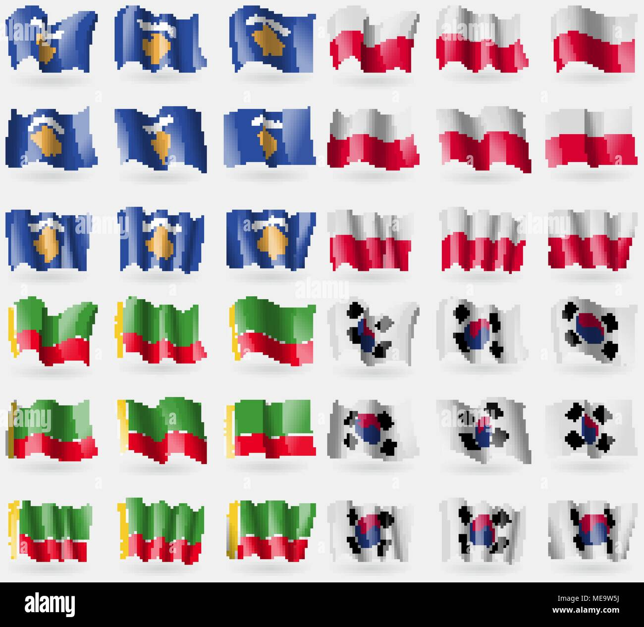 Kosovo, Poland, Chechen Republic, Korea South. Set of 36 flags of the countries of the world. Vector illustration - Stock Image