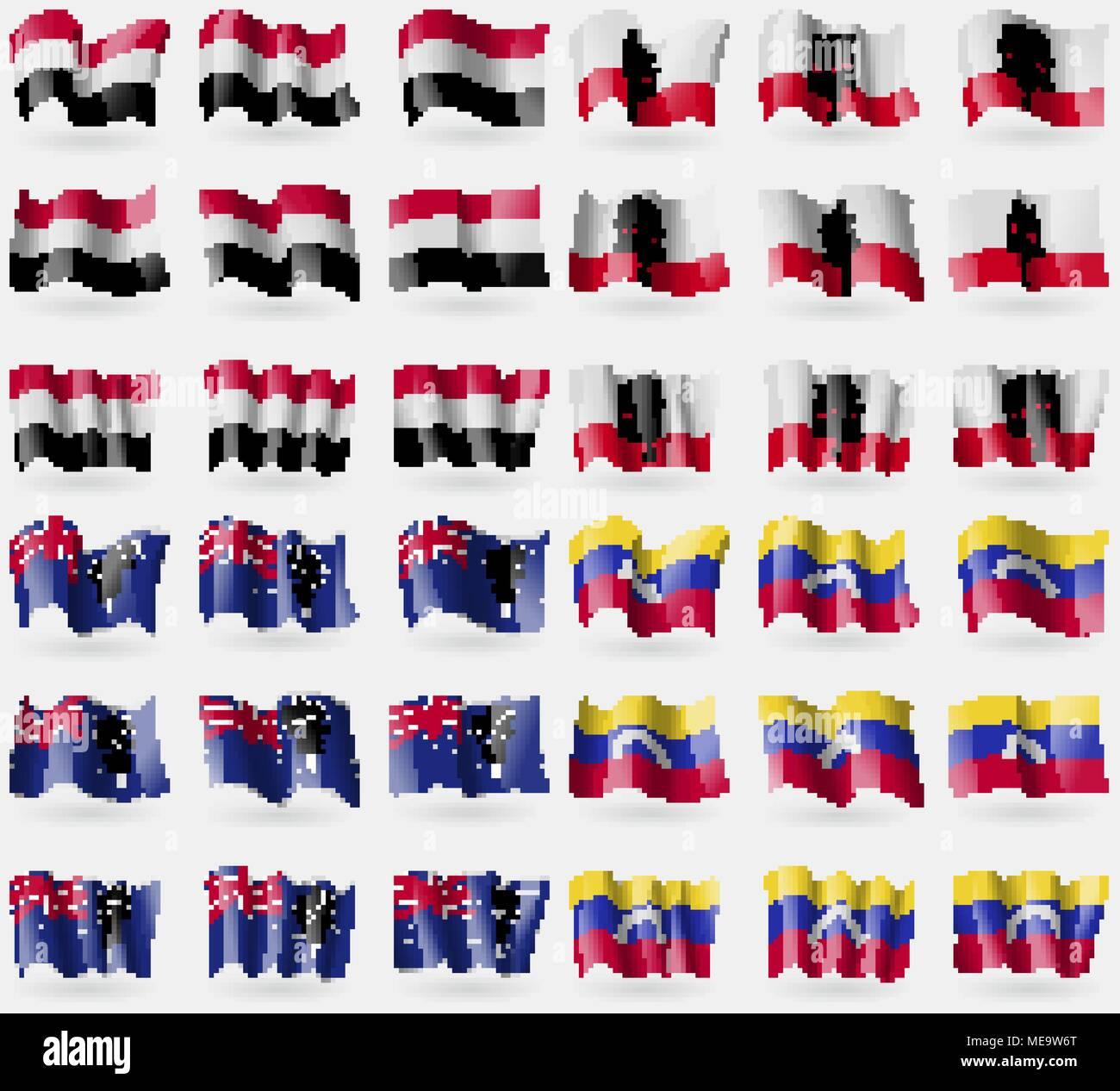 Yemen, Gibraltar, British Indian Ocean Territory, Venezuela. Set of 36 flags of the countries of the world. Vector illustration - Stock Vector