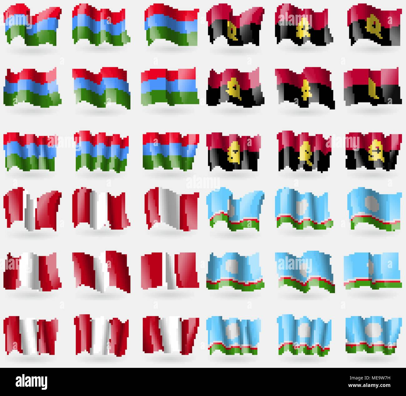 Karelia, Angola, Peru, Sakha Republic. Set of 36 flags of the countries of the world. Vector illustration - Stock Image