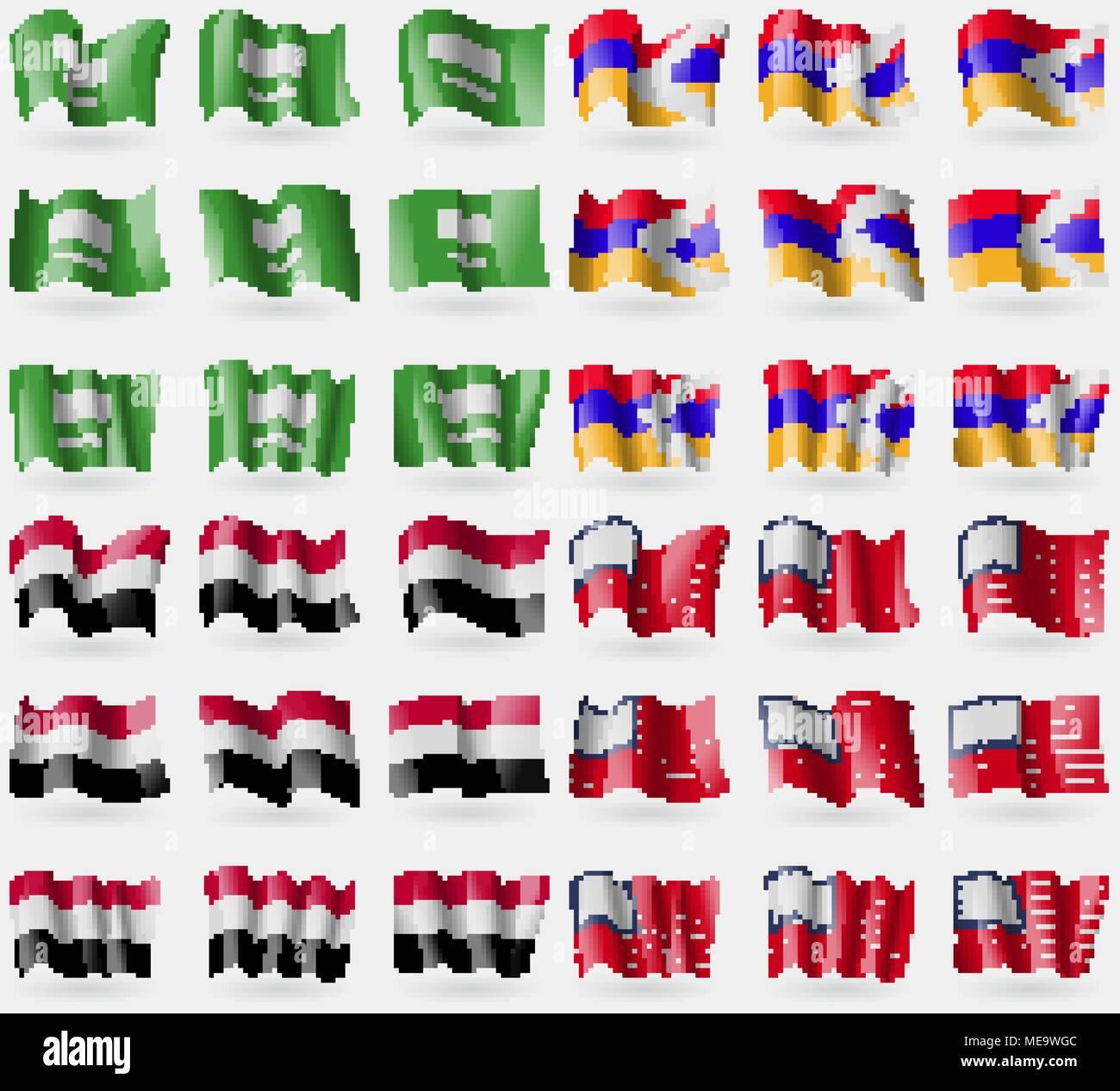 Saudi Arabia, Karabakh Republic, Yemen, USA. Set of 36 flags of the countries of the world. Vector illustration - Stock Vector