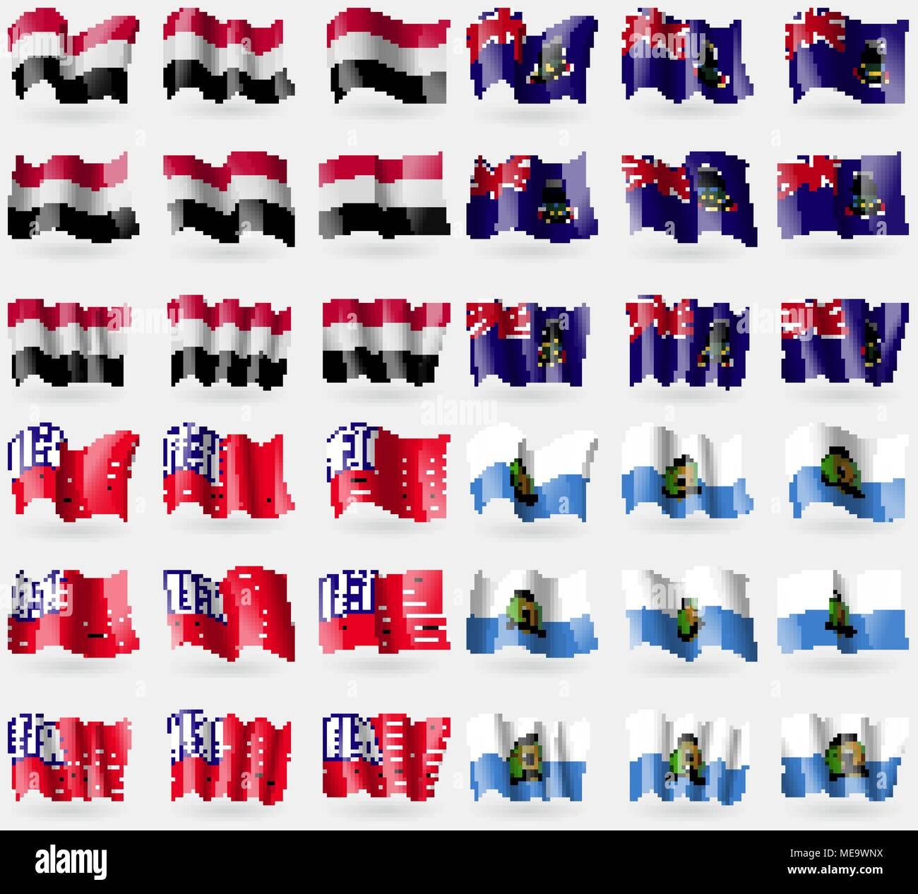 Yemen, Cayman Islands, Bikini Atoll, San Marino. Set of 36 flags of the countries of the world. Vector illustration - Stock Vector