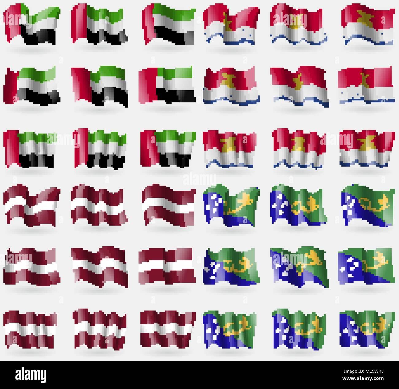 United Arab Emirates, Kiribati, Latvia, Christmas Island. Set of 36 flags of the countries of the world. Vector illustration - Stock Image