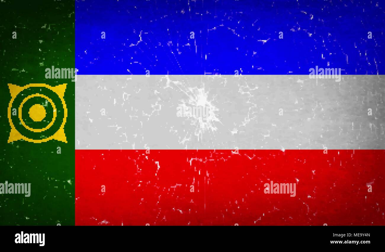Flags of Khakassia with broken glass texture. Vector illustration - Stock Image