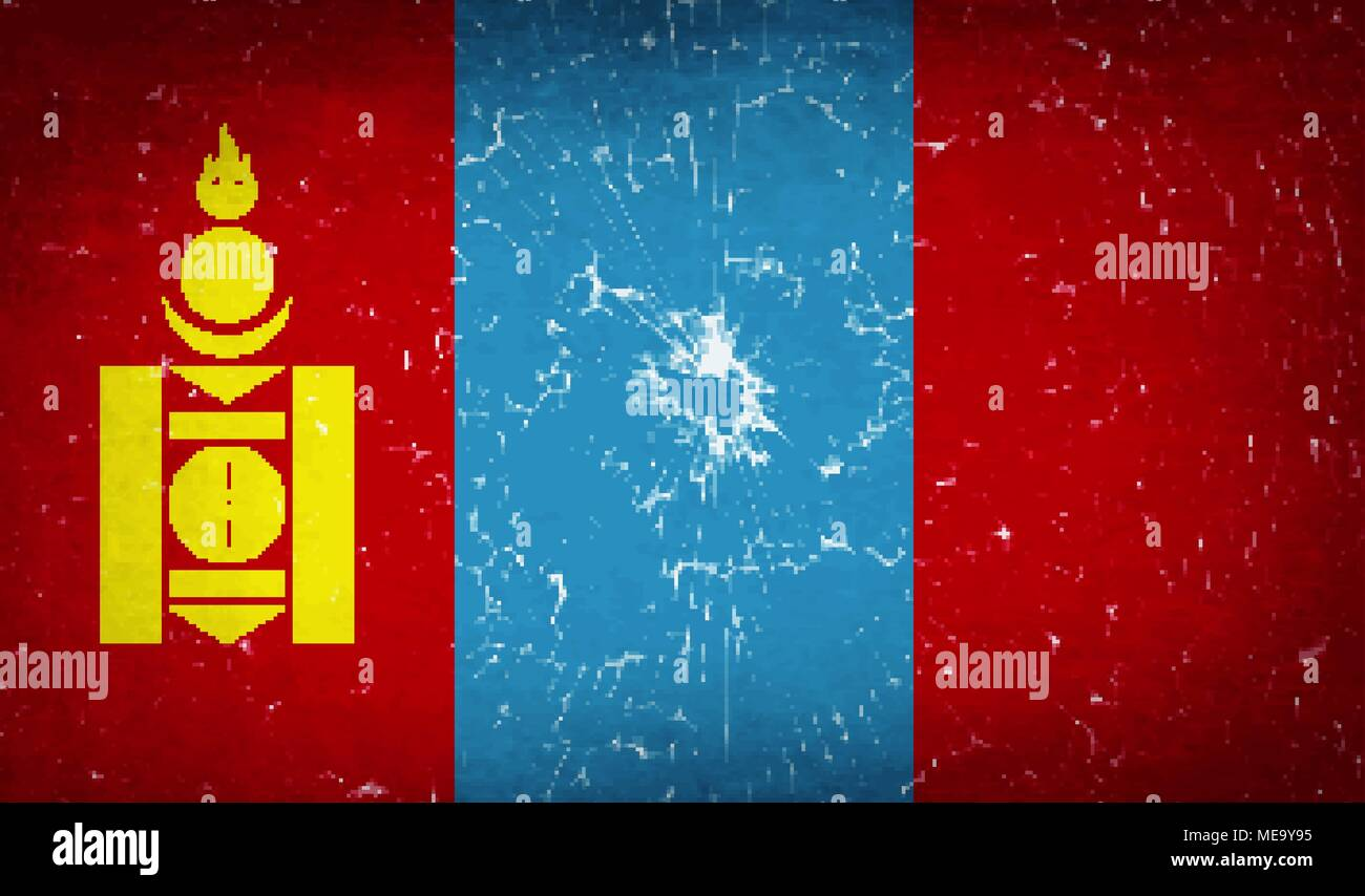 Flags of Mongolia with broken glass texture. Vector illustration - Stock Vector